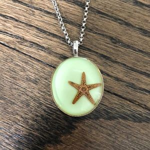 Green and Silver Starfish Necklace